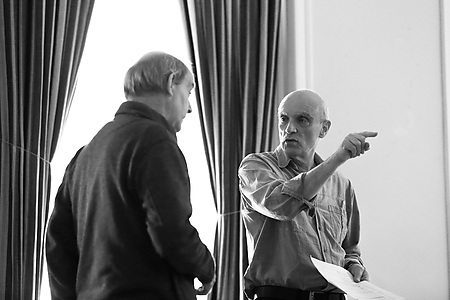 Colin Blumenau and Edward Halsted in rehearsals. Photo credit Leigh Lothian