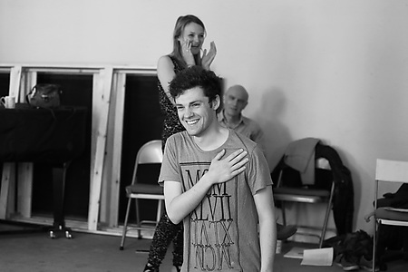 Rhiannon Handy and Simon Robinson in rehearsals Photo credit Leigh Lothian