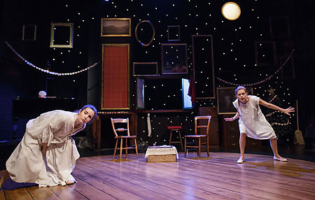 Rebecca Trehearn and Sophie Evans in The Night Before Christmas at Salisbury Playhouse. Credit Paul Blakemore