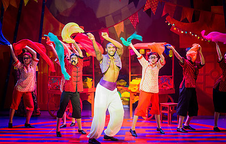 Tyler Fayose and the young company in ALADDIN, credit Robert Workman
